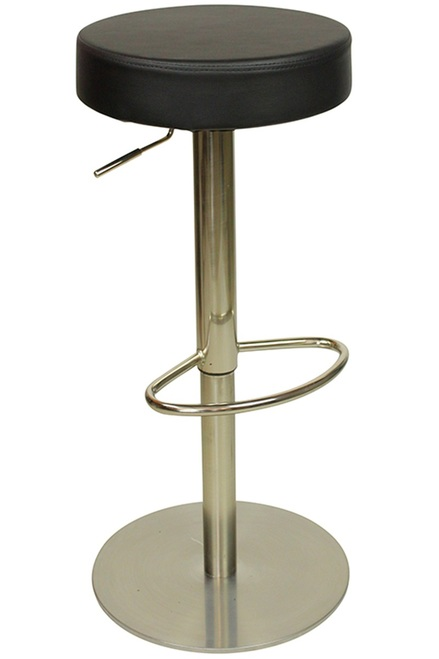Deluxe Sampo Brushed Bar Stool Black Weighted Base No Back