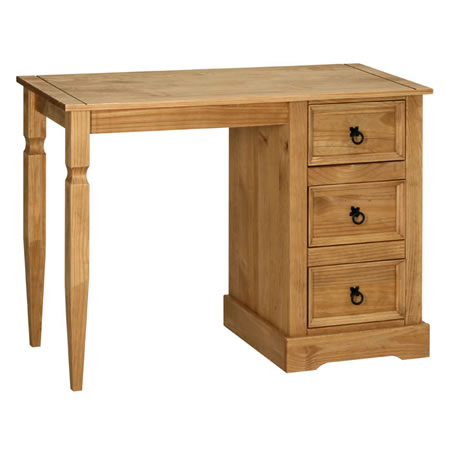 Sabino Antique Waxed Pine Single Pedestal Dressing Table