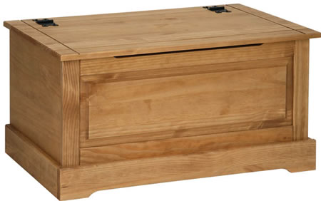 Sabino Antique Waxed Pine Ottoman Storage Box