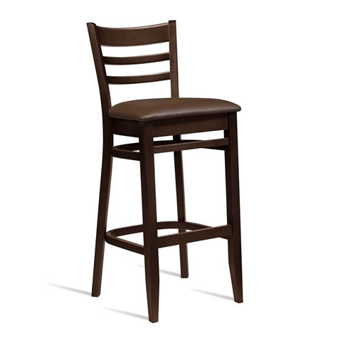 Shelly Solid Beech Kitchen Bar Stool Fixed Height Padded Seat - Fully Assembled