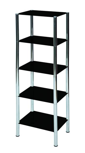 Lotus Shelving / Display Unit - Glass And Chrome - 5 Tiers