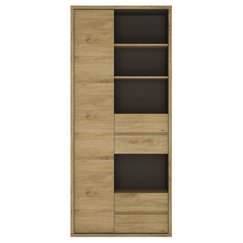 Tiamaria Glazed Wood Bookcase - Wide 1 Door 4 Drawer