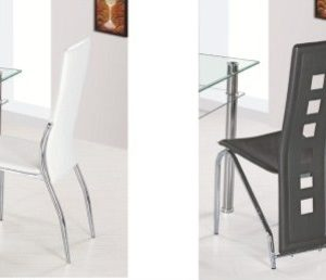 Pile Black Or Ivory Padded Kitchen Dining Chair Tall Back