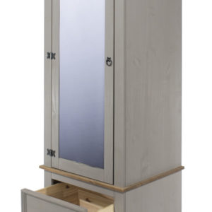 Coson Grey Pine Single Small Armoire Wardrobe With Mirrored Door And Drawer And Hanging Rail