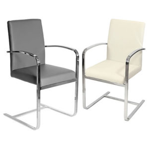 Sprong Chrome Carver Chair With Arms- Sprung Steel Grey Or Cream