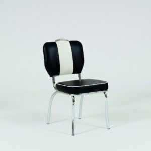 Chicago 50'S Style Retro Black And White Dining Kitchen Chair Chrome Legs Padded Seat And Back