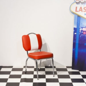 Chicago 50'S Style Retro Red And White Dining Kitchen Chair Chrome Legs Padded Seat And Back