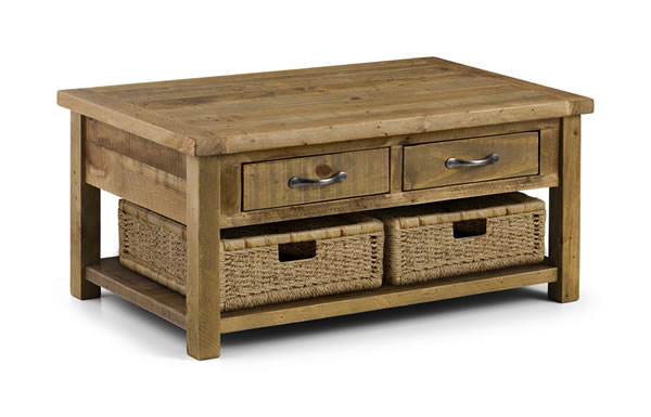 Asoney Coffee Table With Drawers Rough Sawn Solid Pine Fully Assembled