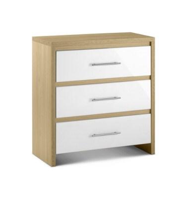 Sadat Oak Bedroom Chest - 3 Drawer Fully Assembled Option