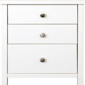 Sweden 3 Drawer Bedside Table In White