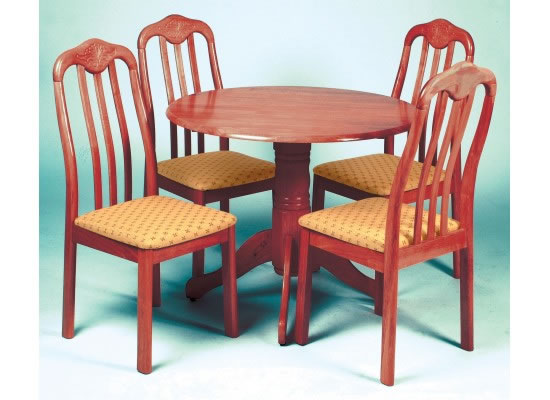 Siffer Mahogany Dining Set - Wood Frame Pedestal Base With 4 Matching Chairs