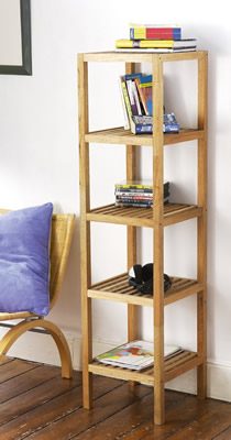 5 Tier Walnut Wood Display Shelving Unit