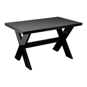 Talia Black Gloss Kitchen Dining Table Cross Section Base Mdf