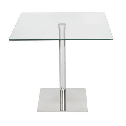 Tambi Square Clear Glass Dining Table - 80 Cm Chrome Frame
