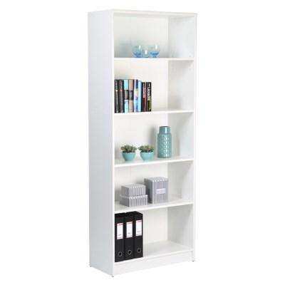 Sheek Danish Made Tall Bookcase - Pearl White Melamine - 4 Shelf