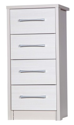 Ashley Quality Bedroom Tallboy 4 Drawers Chest - Fully Assembled Cream Frame White Drawers