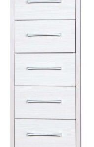 Ashley Quality Bedroom Tallboy 5 Drawers Chest - Fully Assembled Cream Frame White Drawers