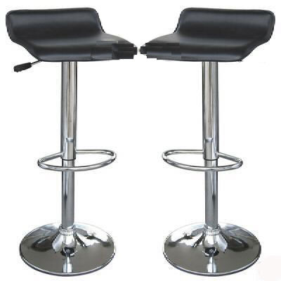 2 X Low Back Black Bar Stools Faux Leather Height Adjustable