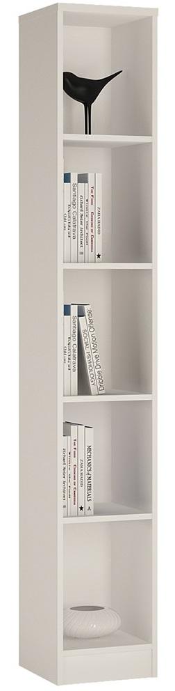Sheek Danish Made Tall Narrow Bookcase - Pearl White - 5 Shelf