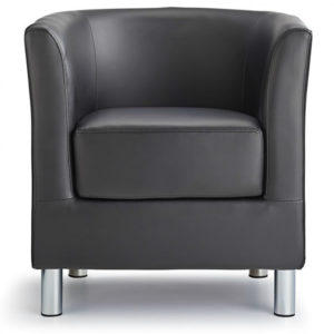 Sagony Designer Modern Tub Chair Black Padded Seat Chrome Legs