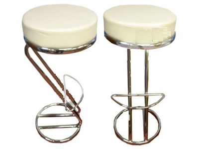 Z Shaped White Kitchen Breakfast Bar Stool Padded Seat Chrome Frame