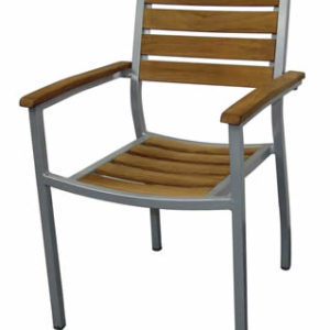 Robin Teak Aluminium Outdoor Stackable Garden Chairs Set Of 4