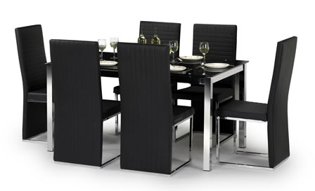 Tompone Black Glass Dining Table Set With Padded Black Chairs