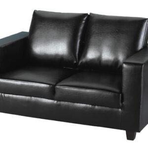 Temping Stylish Modern Black 2 Seater Sofa Pvc Leather