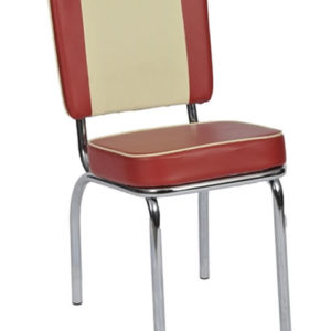 Texas Retro American Diner Kitchen Chair - Classic Red And Cream Chair