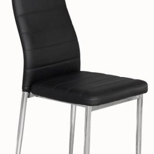 Terrance Dining Kitchen Chairs Black Pvc Seat With Curved Back