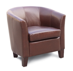 Tub Chair - Faux Leather - Red