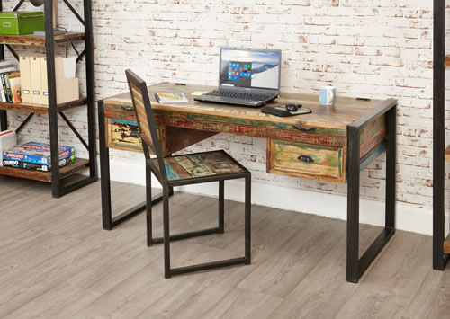 Edgy Reclaimed Wood Unique Contemporary Computer Desk Dressing Table
