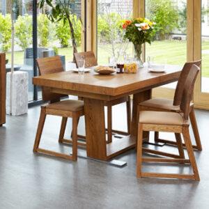 Haponi Oak Finish Kitchen Dining Extending Table