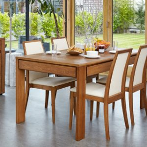 Haponi Oak Finish Kitchen Dining Extending Table With Drawer