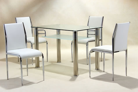 Verci Glass And Chrome Dining Table And 4 Pvc White Padded Chairs