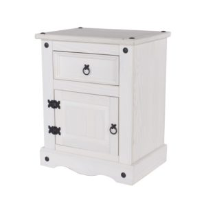 Vibrant 1 Door 1 Drawer Bedside Cabinet White Painted Pine Finish