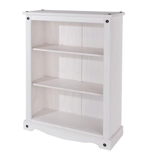 Vibrant Low Bookcase White Painted Pine Finish Adjustable Shelves