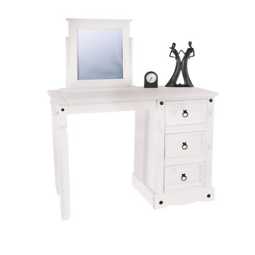 Vibrant Dressing Table Single Pedestal White Painted Pine Finish