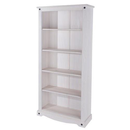Vibrant Tall Bookcase White Painted Pine Finish Adjustable Shelves