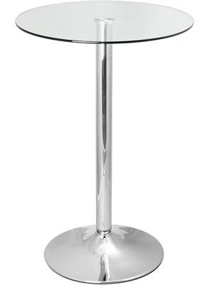 Vetoroly Tall Round Glass Poseur Kitchen Bar Table Chrome Frame 80Cm Round Top Or 60Cm