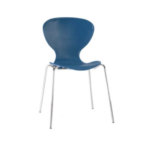 Ziponi Blue Stacking Plastic Side Kitchen Dining Chairs Price Is For 4