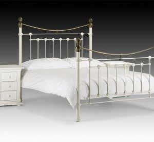 "Vincent Bed 4'6"" And 5 Stone White & Brass"