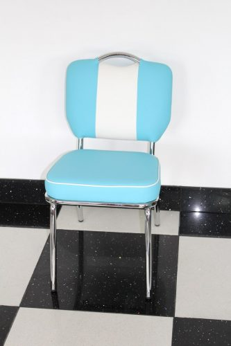 Chicago 50'S Style Retro Blue And White Dining Kitchen Chair Chrome Legs Padded Seat And Back