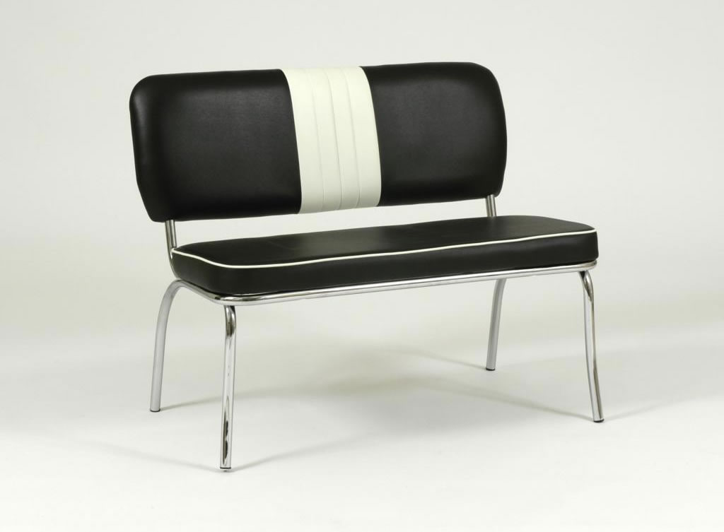 Chicago Retro 50'S Style Chair Bench Black And White Padded Seat And Back Chrome Frame Legs
