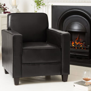Austria Black Sofa Tub Chair Faux Leather Commercial Quality Single Seater