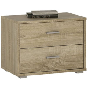 Norse 2 Drawer Low Chest Bedside Table In White Or Oak