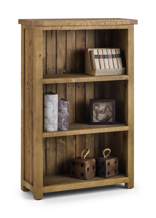 Asoney Low Bookcase Rough Sawn Solid Pine Fully Assembled
