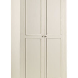Charlsone Large 2 Door Wardrobe Stone White Lacquered Finish Light Oak Top