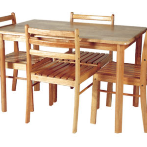 Varona Dining Set Natural Finish 4 Seater