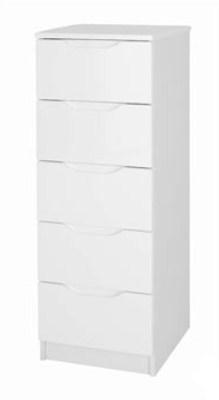 Viz Alp White Gloss Tall Bedroom Chest Of 5 Drawers Uk Made Quality Fully Pre Assembled